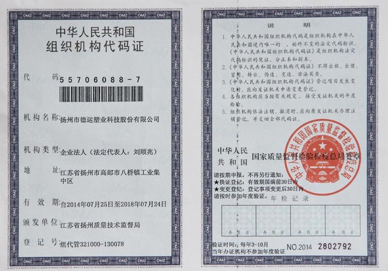 Organizational Code Certificate